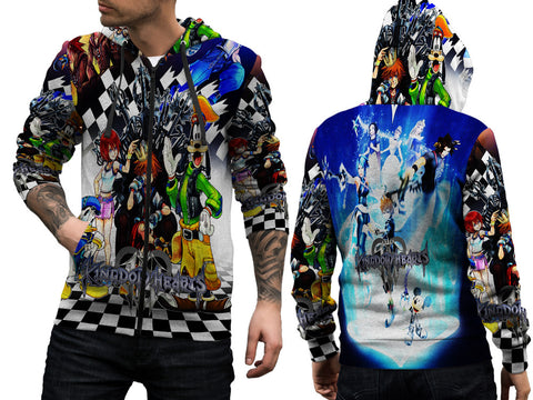 KINGDOM HEART PRINT SUBLIMATION 3D ZIPPER HOODIE FOR MEN