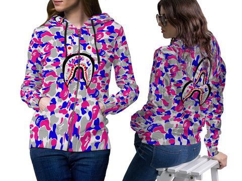 A Bathing Ape Shark Art 4 3D Digital Printed Women's Zipper Hoodie sizes: S to 3XL