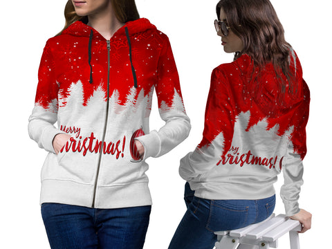 Merry Christmas 3D Digital Printed Women's Hoodie Zipper Sublimation