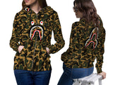 A Bathing Ape Shark Art 1 3D Digital Printed Women's Zipper Hoodie sizes: S to 3XL