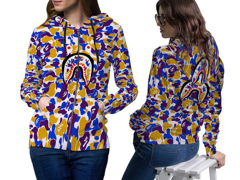 A Bathing Ape Shark Art 3 3D Digital Printed Women's Zipper Hoodie sizes: S to 3XL