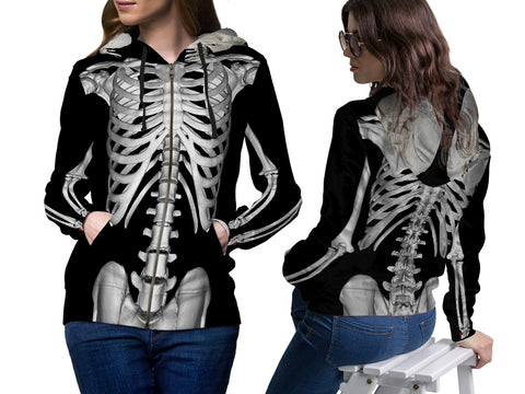 Skeleton 3D Digital Printed Women's Hoodie sizes: S to 3XL