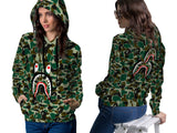 A Bathing Ape Shark Art 2 3D Digital Printed Women's PullOver Hoodie sizes: S to 3XL