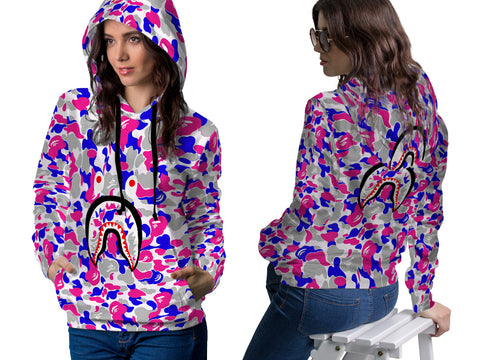 A Bathing Ape Shark Art 4 3D Digital Printed Women's PullOver Hoodie sizes: S to 3XL