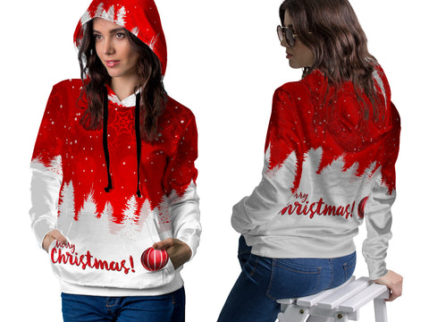 Merry Christmas 3D Digital Printed Women's Hoodie PullOver Sublimation