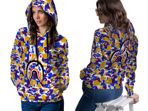 A Bathing Ape Shark Art 3 3D Digital Printed Women's PullOver Hoodie sizes: S to 3XL