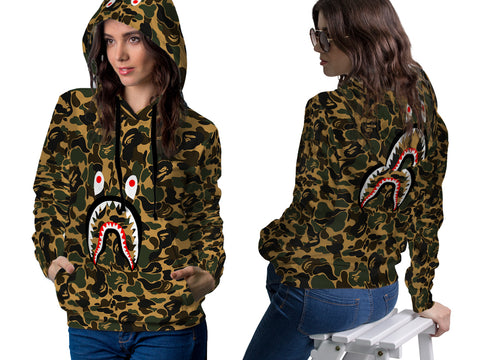 A Bathing Ape Shark Art 1 3D Digital Printed Women's PullOver Hoodie sizes: S to 3XL