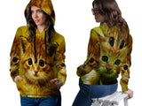 Realistic Animal Cats 3D Digital Printed Women's PullOver Hoodie sizes: S to 3XL