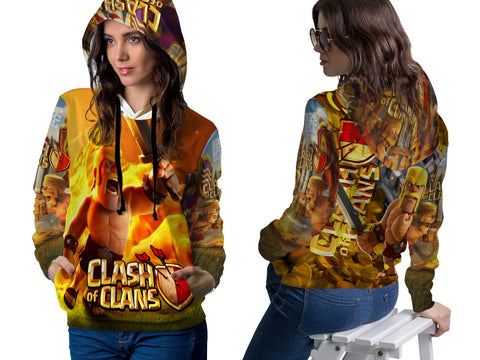 Clash of Clans For Women PullOver Hoodie 3D Fullprint Sublimation Size : S To 3XL