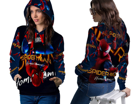 New Spider-Man Homecoming Fans Woman PullOver Hoodie 3D Fullprint Sublimation Size : S To 3XL