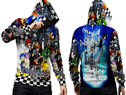 Kingdom Hearts Mens TOP PullOver Hoodie Disney Video Game Custom Fullprint Sublimation sizes: S to 3XL