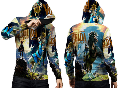 THE LEGEND OF ZELDA Mens TOP PullOver Hoodie Video Game Custom Fullprint Sublimation sizes: S to 3XL