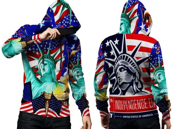 LIBERTY 14TH JULY PRINT SUBLIMATION 3D PULLOVER HOODIE FOR MEN