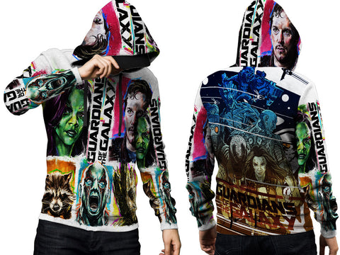 GUARDIANS GALAXY PRINT SUBLIMATION 3D PULLOVER HOODIE FOR MEN