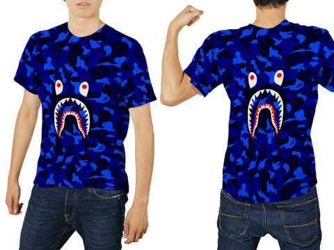 A Bathing Ape Shark Art 5 3D Digital Printed Sublimation Men's T-Shirt sizes: S to 3XL