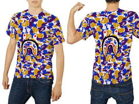 A Bathing Ape Shark Art 3 3D Digital Printed Sublimation Men's T-Shirt sizes: S to 3XL