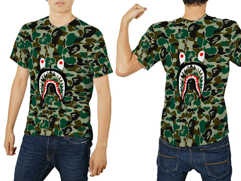 A Bathing Ape Shark Art 2 3D Digital Printed Sublimation Men's T-Shirt sizes: S to 3XL