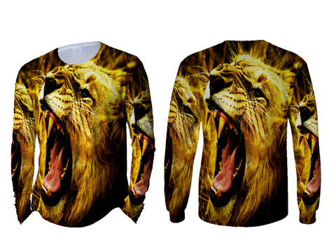Realistic LION 3D Digital Printed Sublimation Men's LONG SLEEVE Size : S To 3XL