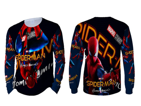 New Spider-Man Homecoming Fans Man Top LONG SLEEVE 3D Fullprint Sublimation Size : S To 3XL