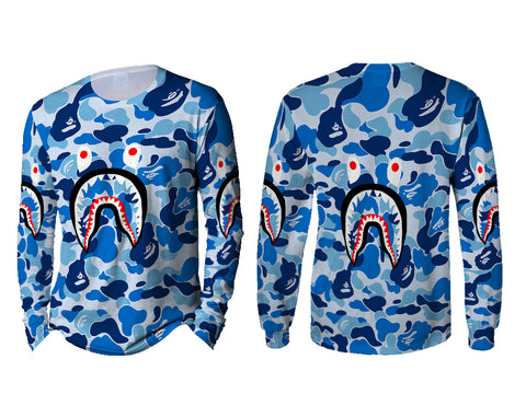 A Bathing Ape Shark Blue Color 3D Digital Printed Sublimation Men's LONG SLEEVE Size : S To 3XL
