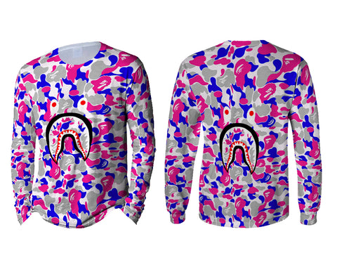 A Bathing Ape Shark Art 4 3D Digital Printed Sublimation Men's LONG SLEEVE Size : S To 3XL