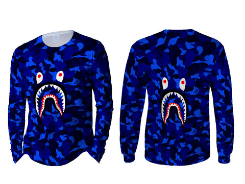 A Bathing Ape Shark Art 5 3D Digital Printed Sublimation Men's LONG SLEEVE Size : S To 3XL