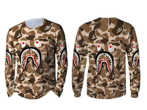 A Bathing Ape Shark Brown Color 3D Digital Printed Sublimation Men's LONG SLEEVE Size : S To 3XL