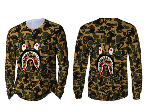 A Bathing Ape Shark Art 1 3D Digital Printed Sublimation Men's LONG SLEEVE Size : S To 3XL