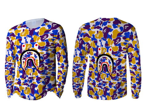 A Bathing Ape Shark Art 3 3D Digital Printed Sublimation Men's LONG SLEEVE Size : S To 3XL