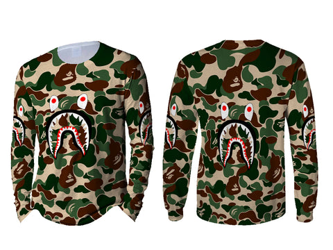 A Bathing Ape Shark Dark Green Color 3D Digital Printed Sublimation Men's LONG SLEEVE Size : S To 3XL