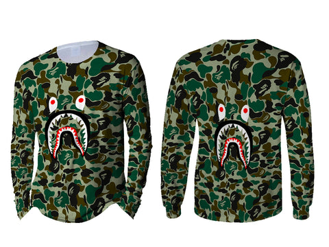 A Bathing Ape Shark Art 2 3D Digital Printed Sublimation Men's LONG SLEEVE Size : S To 3X
