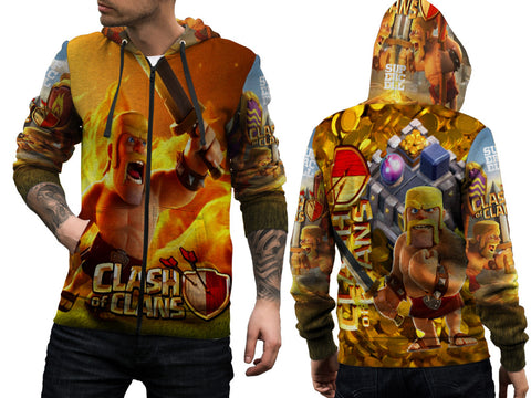 Clash of Clans For Man Zipper Hoodie 3D Fullprint Sublimation Size : S To 3XL