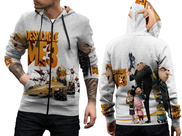 Despicable Me 3 For Man Zipper Hoodie 3D Fullprint Sublimation Size : S To 3XL