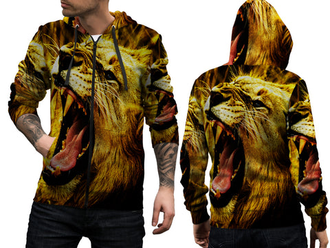 Realistic LION 3D Digital Printed Men's Zipper Hoodie sizes: S to 3XL
