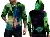 MINECRAFT For Man Zipper Hoodie 3D Fullprint Sublimation Size : S To 3XL