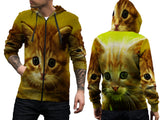 Realistic Animal Cats 3D Digital Printed Men's Zipper Hoodie sizes: S to 3XL