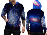 Space Galaxy 3D Digital Printed Sublimation Men's Zipper Hoodie sizes: S to 3XL