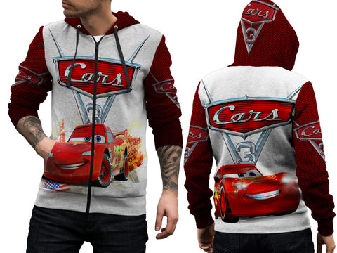 Cars 3 Disney Fans Man Zipper Hoodie 3D Fullprint Sublimation Size : S To 3XL