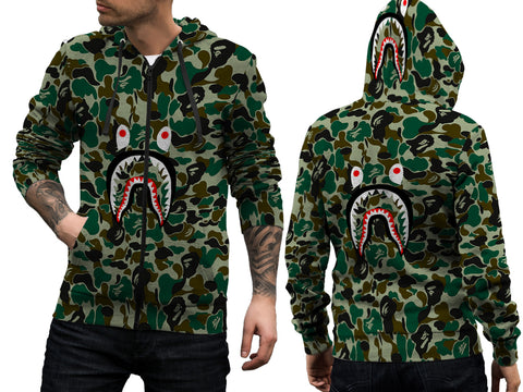 A Bathing Ape Shark Art 2 3D Digital Printed Men's Zipper Hoodie sizes: S to 3XL