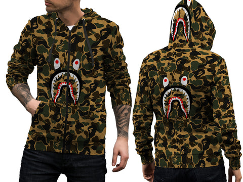 A Bathing Ape Shark Art 1 3D Digital Printed Men's Zipper Hoodie sizes: S to 3XL
