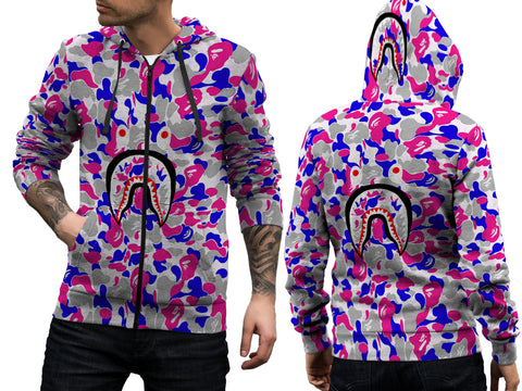 A Bathing Ape Shark Art 4 3D Digital Printed Men's Zipper Hoodie sizes: S to 3XL
