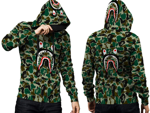 A Bathing Ape Shark Art 2 3D Digital Printed Men's PullOver Hoodie sizes: S to 3XL