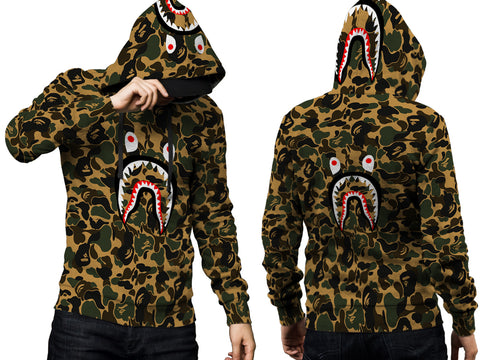 A Bathing Ape Shark Art 1 3D Digital Printed Men's PullOver Hoodie sizes: S to 3XL