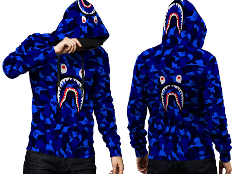 A Bathing Ape Shark Art 5 3D Digital Printed Men's PullOver Hoodie sizes: S to 3XL