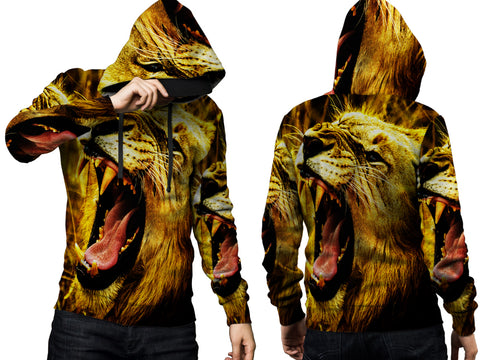 Realistic LION 3D Digital Printed Men's PullOver Hoodie sizes: S to 3XL