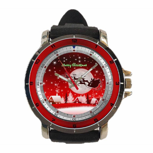 Hot New Design CHRISTMAS Art 11 Custom Sport Wristwatch Sport Big Face Rubber Band