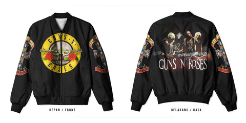 New Fans Guns N' Roses 3D Digital Printed Men's Bomber Jacket Sublimation sizes: S to 3XL