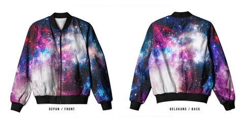 Galaxy Art 15 3D Digital Printed Men's Bomber Jacket Sublimation sizes: S to 3XL
