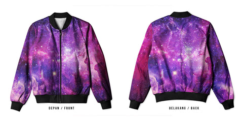 Galaxy Art 14 3D Digital Printed Men's Bomber Jacket Sublimation sizes: S to 3XL