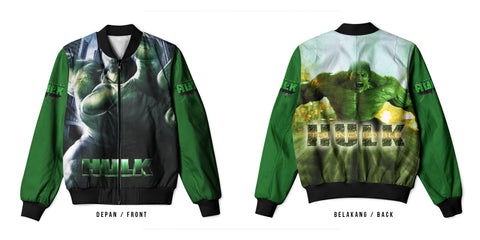 New Fans Hulk Characters Marvel Comics Universe 3D Digital Printed Men's Bomber Jacket Sublimation sizes: S to 3XL